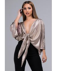 AKIRA - Lets Get Physical Metallic Tie Front Blouse - Lyst