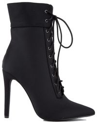 AKIRA - Gahdamn Lace Up Pointed Toe Booties - Lyst