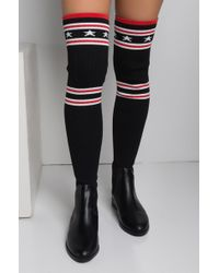 AKIRA - Out Of Bounds Thigh High Sock Boots - Lyst