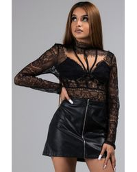AKIRA - Dont Try Me Cutout Sheer Lace Top - Lyst