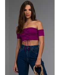 PAXTON - Kimi Lace Up Off Shoulder Crop Top - Lyst
