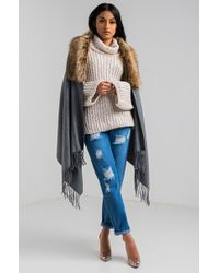 AKIRA - To The Bay Faux Fur Collar Scarf - Lyst