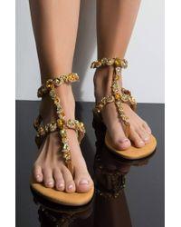AKIRA - Breakfast At Tiffany's Jeweled Flat Sandals - Lyst