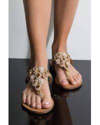 AKIRA - High Key Obsessed Flat Sandals - Lyst