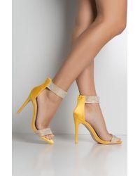 e1372d4c8aa AKIRA - Champagne And Sunshine Rhinestone Strap Sandals - Lyst