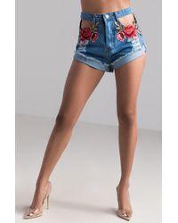 AKIRA - Hip To Dip Floral Pocket Denim Short - Lyst