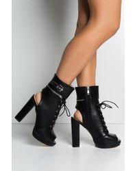 AKIRA - One Hot Mamma Lace Up Open Toe Sandal Booties - Lyst