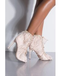 AKIRA - Extra Af Feather And Pearl Lace Up Bootie - Lyst
