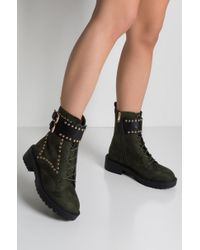 AKIRA - Acting Up Studded Combat Boots - Lyst