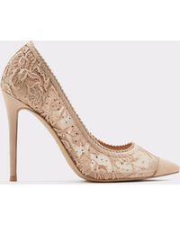 778f19be3e ALDO Arelisen Lace Embellished Dress Pumps in Natural - Lyst
