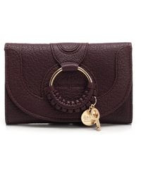 See By Chloé Hana Burgundy Leather Compact Wallet - Purple