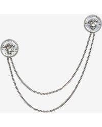 Alexander McQueen - Crow & Skull Medallion Chain Pin - Lyst