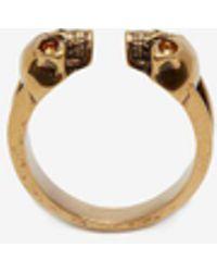 Alexander McQueen - Ring mit Twin Skull - Lyst
