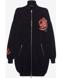 Alexander McQueen - Rose Tapestry Oversized Knitted Bomber - Lyst