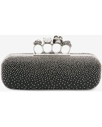 b07514eab55f Alexander Mcqueen Stone Eagle-embroidered Knuckle Clutch - Lyst