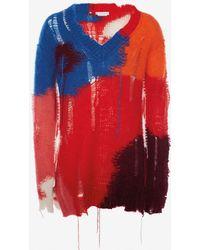 Alexander McQueen - Pullover aus Mohair im Used-Look mit V-Ausschnitt - Lyst