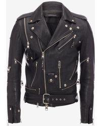 Alexander McQueen - Zipped Biker Jacket - Lyst