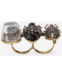 Alexander McQueen - Jewelled Insect Double Ring - Lyst