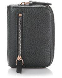 Alexander Wang | Fumo Mini Zip Around Wallet In Pebbled Black | Lyst
