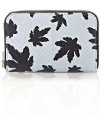 Alexander Wang - Mini Compact Wallet In Pale Blue Leaf Printed Elaphe - Lyst