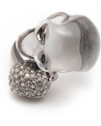 Alexis Bittar - Crystal Encrusted Double Skull Ring - Lyst