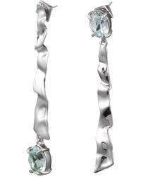 Alexis Bittar - Crumpled Rhodium Mismatch Linear Post Earring - Lyst