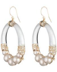 Alexis Bittar - Crystal Encrusted Pearl Hoop Wire Earring - Lyst