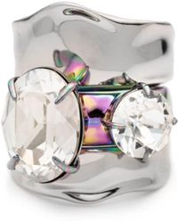 Alexis Bittar Liquid Rhodium With Pvd Crystal Stacked Ring Set