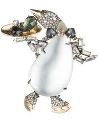 Alexis Bittar - Crystal Encrusted Skating Penguin Pin - Lyst