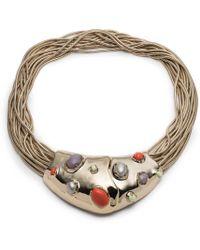 Alexis Bittar - Sculptural Stone Cluster Snake Chain Bib Necklace - Lyst