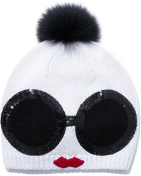 Alice + Olivia - Rinn Staceface Beanie With Fur - Lyst
