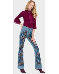 Alice + Olivia - Beautiful Embroidered Bell Jean - Lyst