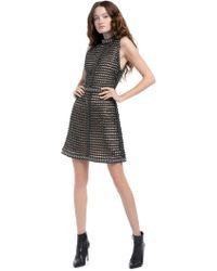 Alice + Olivia - Carlotta Studded Leather Mini Dress - Lyst