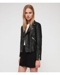 f754b3e8b61df Lyst - AllSaints Steine Leather Biker Jacket in Black