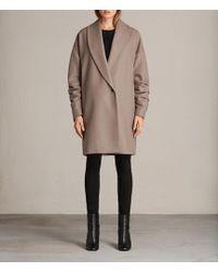AllSaints - Kenzie Ruche Coat - Lyst