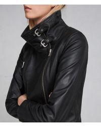 AllSaints - Bales Leather Biker Jacket - Lyst