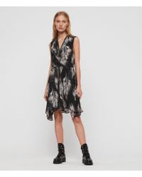 AllSaints - Jayda Feathers Dress - Lyst