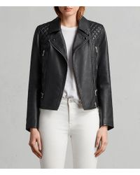 AllSaints - Kelham Leather Biker Jacket - Lyst