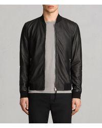 AllSaints - Mower Leather Bomber Jacket - Lyst