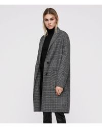AllSaints - Anya Dogtooth Check Coat - Lyst