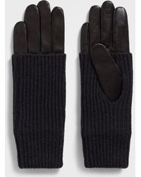AllSaints - Knit Cuff Leather Gloves - Lyst