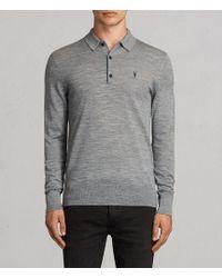 AllSaints - Mode Merino Long Sleeved Polo - Lyst