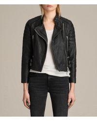 AllSaints - Silsden Leather Biker Jacket - Lyst