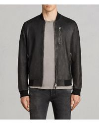 AllSaints - Kino Leather Bomber Jacket - Lyst