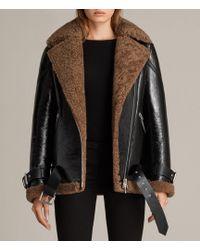 AllSaints - Hawley Oversized Shearling Biker Jacket - Lyst