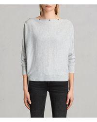 AllSaints - Elle Snap-detail Sweater - Lyst