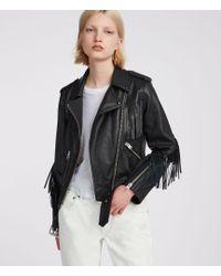 AllSaints - Tassel Balfern Leather Biker Jacket - Lyst