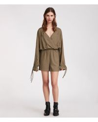 c2e1e0232b0 AllSaints Nila T Playsuit in Green - Lyst