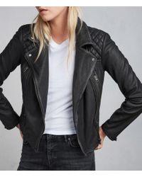 AllSaints - Cargo Leather Biker Jacket Usa Usa - Lyst