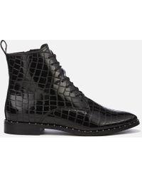 KG by Kurt Geiger - Tilda Leather Croc Lace-up Boots - Lyst